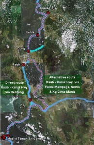 Raub - Karak Highway alternative route, via Felda Mempaga, Sertik and Kg Cinta Manis