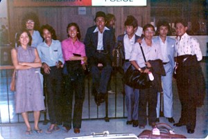 Feb 8, 1979, ~ 2.00 pm. At Perth International Airport. 3 senior Malaysian students posing with 8 of 10 JPA students who had just arrived on the delayed flight MH02 from Kuala Lumpur via Jakarta.