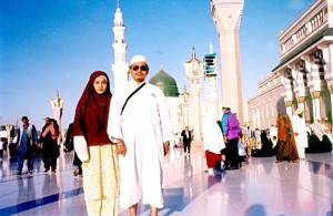 Thu March 2, 2000 (26 Dzulqaeda 1420). Me and my other half at Masjid Al-Nabawi grounds, Madinah. This was our 7th day in Madinah Al-Munawwarah, having arrived before dawn on Friday Feb 25, 2000.