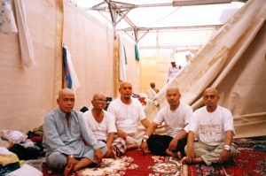 Fri March 17, 2000 (11 Dzulhijjah 1420). Me and some of my roommates, inside our tent in Mina camp. We were back in normal clothing, after we had cut our hair following the stoning of the big jamrah the day before. All of use were bald, because we chose to totally cut our hair, because that was a better practice according to the Prophet S.A.W's sunnah.