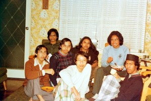 "August 1980, Eid Fitri 1400H. A small get-together at our apartment in Linden Lodge, Nedlands. Enjoying the satay prepared by Mukhtar, ""nasi impit"" by me, and the gravy by Amir, were our friends Ismail Hadis, Munawar, Abu Mansur and Roslan."