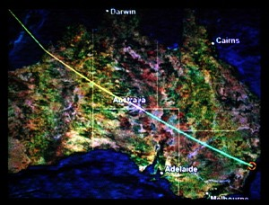 MH123 Kuala Lumpur to Sydney, right in the middle of Australia