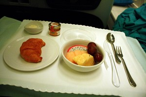 Croissant and fruits for breakfast. About 2 hours before landing in Sydney