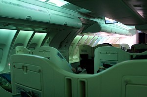 MH123 upper deck cabin, with wake-up mood lighting scheme
