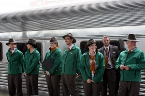 Indian Pacific crew being introduced to guests on the platform