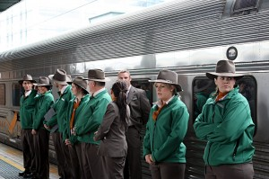 Indian Pacific crew in Australia's national colors of green and gold