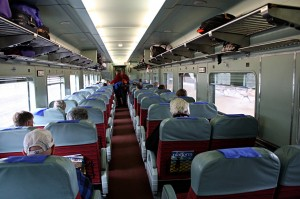 Mid-carriage view inside Indian Pacific Red DayNighter Service