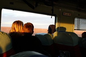 My co-passengers on the R carriage enjoying the Indian Pacific sunset from our seats