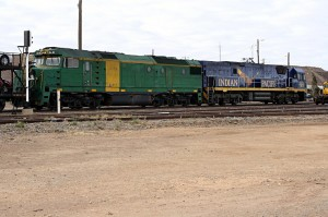 At Broken Hill, I can see the two locomotives used to haul the 700m-long Indian Pacific train from Sydney via the Blue Mountains to Adelaide