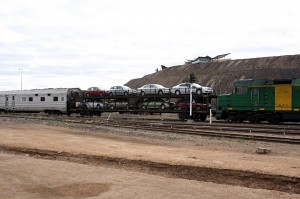 A carriage with full load of 8 cars, an Indian Pacific MotorRail service, to haul cars from Sydney to Adelaide and Perth