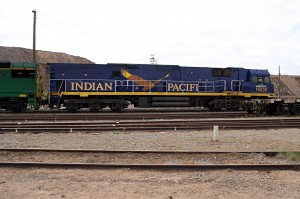 Full view of the Indian Pacific main locomotive, in signature blue livery with an image of a wedge-tailed eagle, Australia's largest eagle