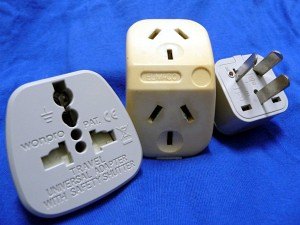 2 new Malaysia/UK - Australia power adapters, with an Australian power splitter vintage 1984