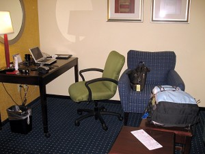 My backpack and laptop computer at a Newark hotel in January 2007