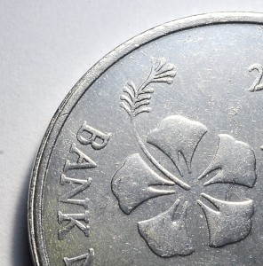 Part of Malaysia's year 2012 new 10 sen coin. Silver color.