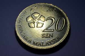 Malaysia's new year 2012 version of the 20 sen coin. Golden color.