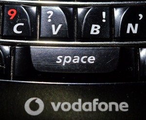 Keyboard buttons on my well-used BlackBerry phone.