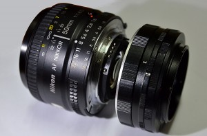 Nikkor AF 50mm f/1.8D lens with Size 1 Extension Ring