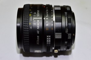 The 50mm lens attached to the extension tube