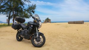 The trusty Kawasaki Versys 650 Gen2 at Kemasik Beach. October 2016.