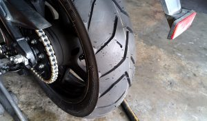 The new Bridgestone Battlax Adventure A40 rear tire.